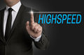 Highspeed touchscreen is served by businessman Stock Images