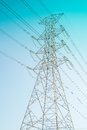 Hight voltage electricity pole the under the blu sky Stock Image