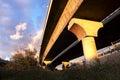 Highway bridge urban seen from below Stock Images