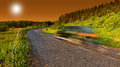 Highway with car motion blur at dusk Royalty Free Stock Photos