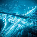 Highway in city at night Royalty Free Stock Photo