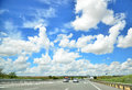 Highway cloudscape beautiful in spanish meseta on a Stock Image