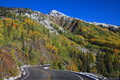 Highway through the colorado rockies in fall a winds colorful scenic landscape of a rocky mountains Stock Images