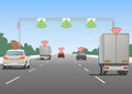 Highway communication system and vehicles vector illustration Stock Photography