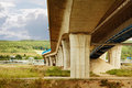 Highway construction from under the bridge Royalty Free Stock Photo