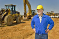 Highway Construction Worker And Equipment Royalty Free Stock Photo