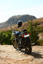 Highway cruiser on rough terrain hilltop a cruises royal enfield thunderbird biks a hill top Stock Photography