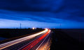 Highway at dusk bucharest constanta freeway nightfall with car lights Stock Images