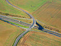 Highway flyover on aerial view west bohemia czech republic eu Stock Photo