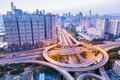 A highway interchange in guangzhou at dusk Royalty Free Stock Photo