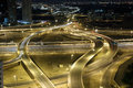 Highway intersection at night dubai united arab emirates Stock Photo