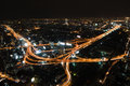 Highway junction at night aerial view t of busy big city highways Stock Photography