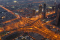 Highway junction at night, Dubai Royalty Free Stock Images