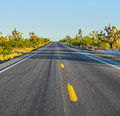 Highway in midday sun straight Royalty Free Stock Image