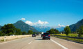 Highway with mountain view Royalty Free Stock Photo