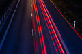 Highway at night long exposure Royalty Free Stock Image