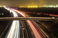 Highway at night long exposure shot of Royalty Free Stock Images