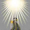 Highway receding into the distance in the tunnel. Bending road. Bright sunlight. illustration. Royalty Free Stock Photo