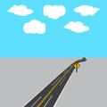 Highway receding into the distance with white and yellow markings, road sign. illustration Royalty Free Stock Photo