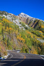 Highway through the rocky mountains in fall a winds colorful scenic landscape of a colorado Royalty Free Stock Images