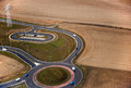 Highway roundabout seen from plane aerial view Stock Images