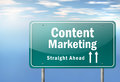 Highway signpost content marketing with wording Royalty Free Stock Photography