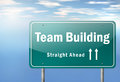 Highway signpost team building with wording Royalty Free Stock Photo