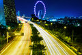 Highway in singapore at night Royalty Free Stock Images