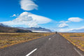 Highway through South Icelandic landscape Royalty Free Stock Photo