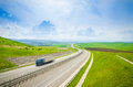 Highway with speeding truck Royalty Free Stock Photo