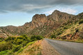 Highway to mountains in dusk shot montagu western cape south africa Royalty Free Stock Images