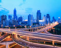 Highway traffic at dusk city interchange overpass and elevated road in shanghai china Stock Photography