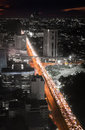 Highway traffic jam in the night bangkok at shot birds eye view Royalty Free Stock Photo