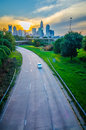 Highway traffic near a big city in usa Royalty Free Stock Photography