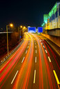 Highway traffic at night Royalty Free Stock Photo