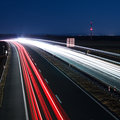 Highway traffic at night on a Royalty Free Stock Image
