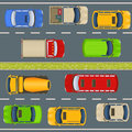 Highway traffic top view Royalty Free Stock Photo