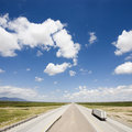 Highway with truck. Royalty Free Stock Photo