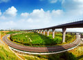 Highway and viaduct under the blue sky Royalty Free Stock Photos