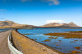 Highway west icelandic landscape under blue summer sky Stock Photography