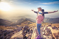 Hike and adventure at mountain of achieve and successful couple top young men woman with aerial view range they Royalty Free Stock Image