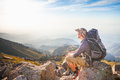 Hike and adventure at mountain the of success man Royalty Free Stock Photo