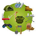 Hike equipment icon illustrations of icons Stock Photos