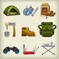 Hike equipment icon set illustrations of Royalty Free Stock Image