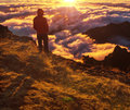 Hike in madeira mountains at sunset Royalty Free Stock Photo