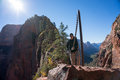 Hike to Angels Landing at Zion National Park in Utah Royalty Free Stock Photo