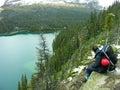 Hiker admiring lake o hara yoho national park canada british columbia Stock Photos
