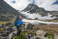 Hiker in altai mountains russian federation Royalty Free Stock Photography