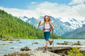 Hiker in altai mountains russian federation Royalty Free Stock Photo