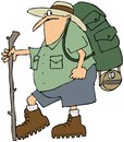 Hiker with a backpack this illustration depicts man hiking and walking stick Stock Photos